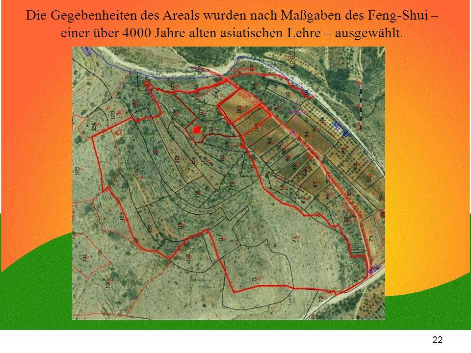 Die Gegebenheiten des Areals wurden nach Maßgaben des Feng-Shui – einer über 4000 Jahre alten asiatischen Lehre – ausgewählt.