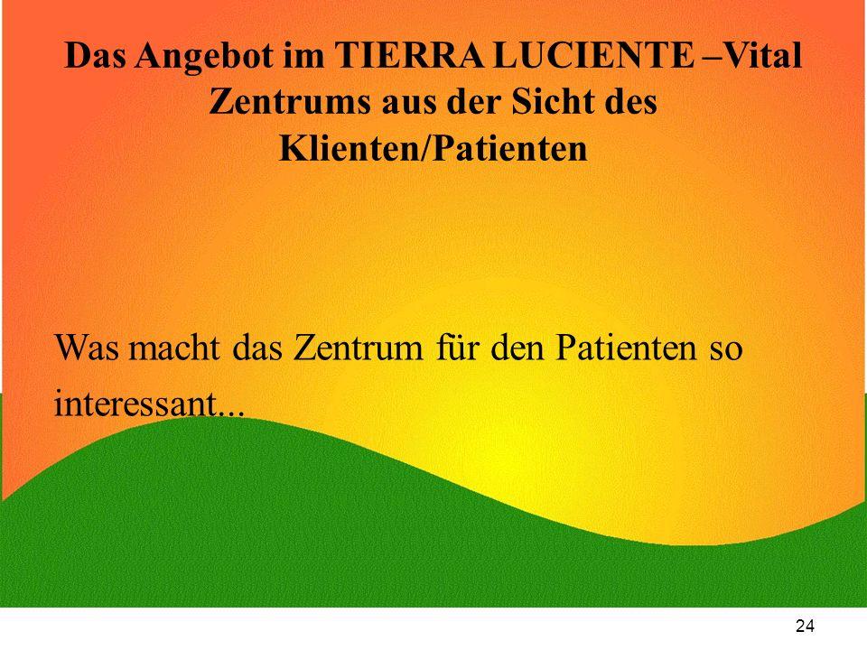 Das Angebot im TIERRA LUCIENTE –Vital Zentrums aus der Sicht des Klienten/Patienten