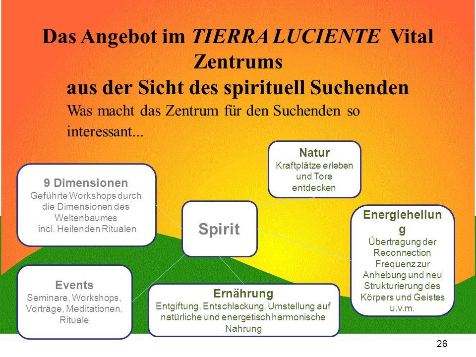 Das Angebot im TIERRA LUCIENTE Vital Zentrums aus der Sicht des spirituell Suchenden
