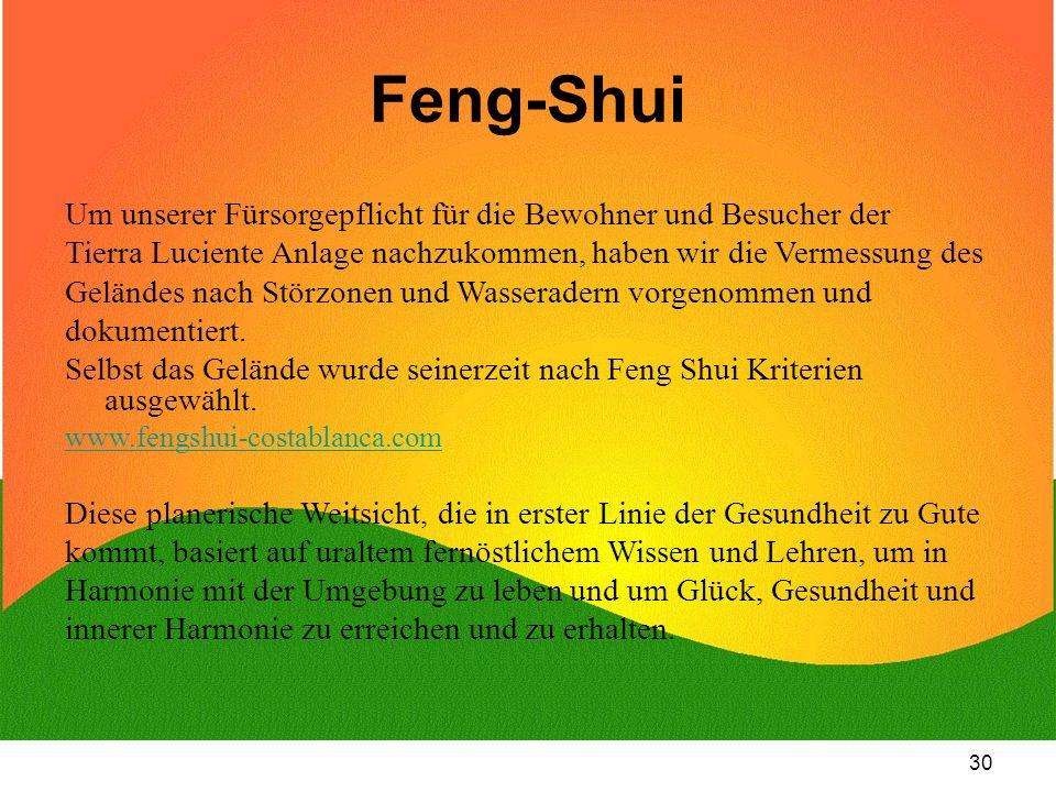 Feng-Shui Um unserer Fürsorgepflicht für die Bewohner und Besucher der