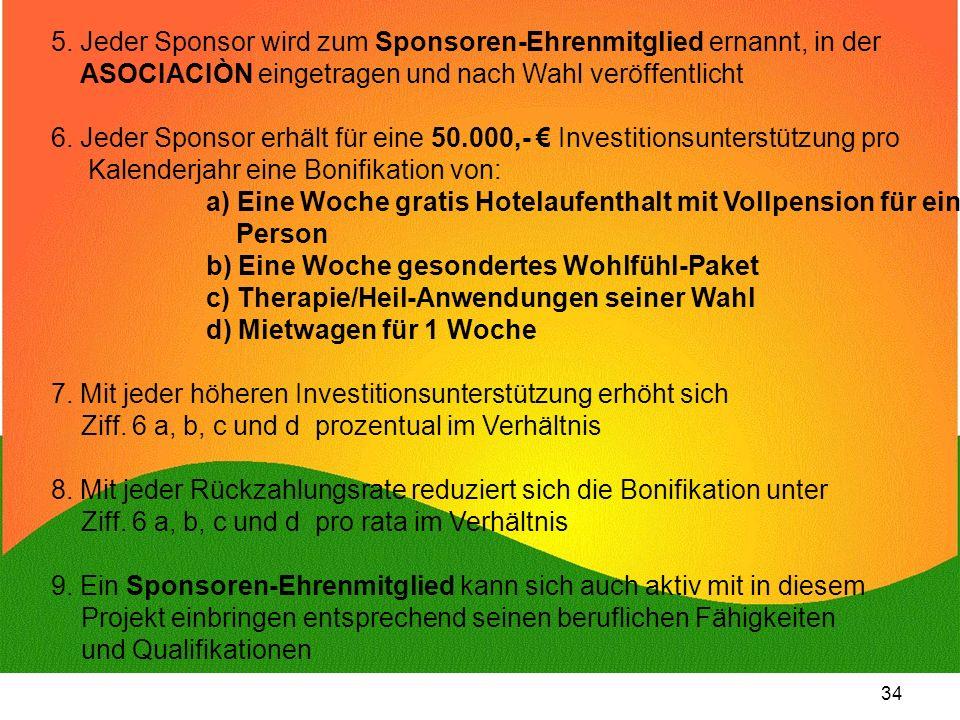 5. Jeder Sponsor wird zum Sponsoren-Ehrenmitglied ernannt, in der