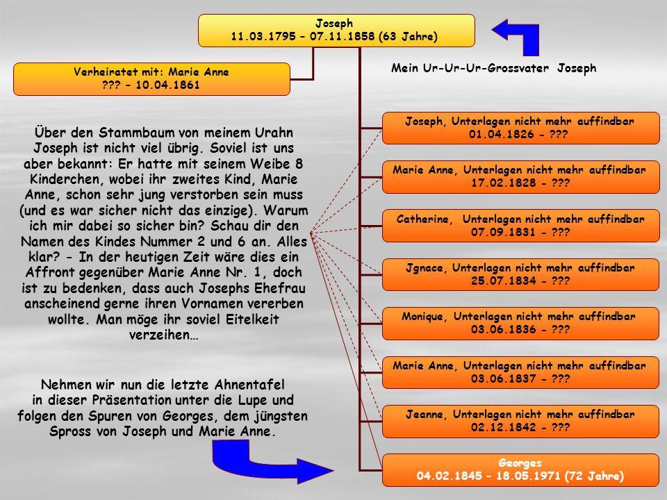 Joseph 11.03.1795 – 07.11.1858 (63 Jahre) Joseph, Unterlagen nicht mehr auffindbar 01.04.1826 -