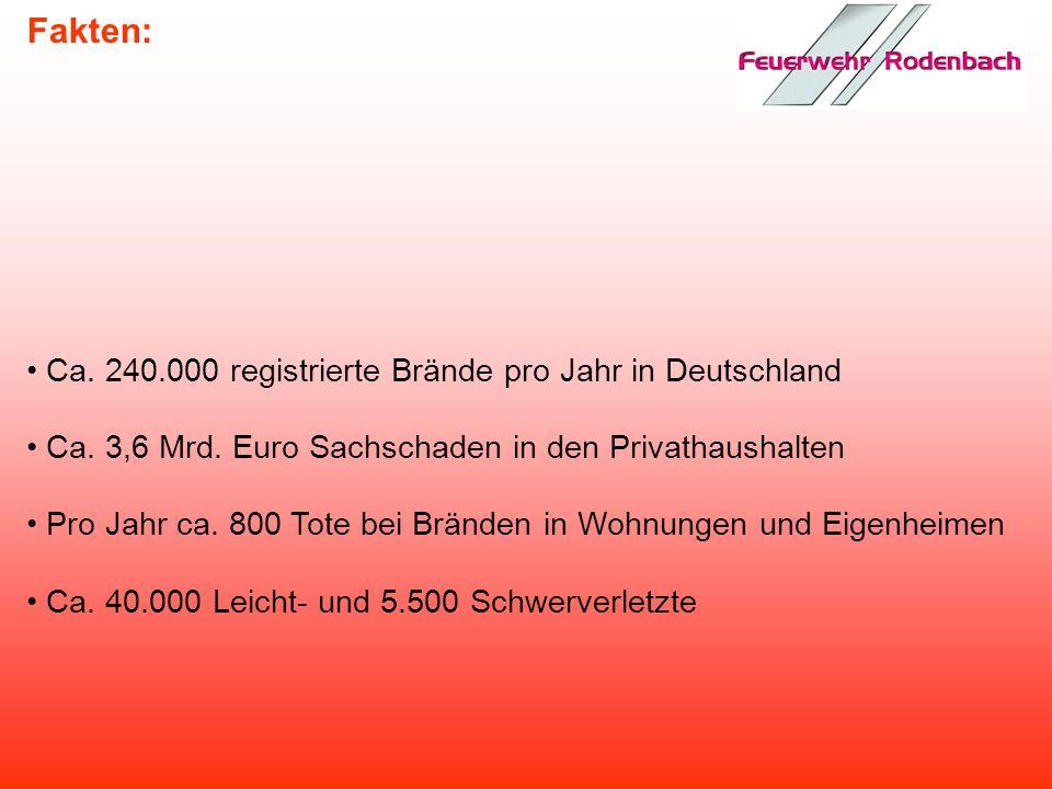 Fakten: Ca. 240.000 registrierte Brände pro Jahr in Deutschland