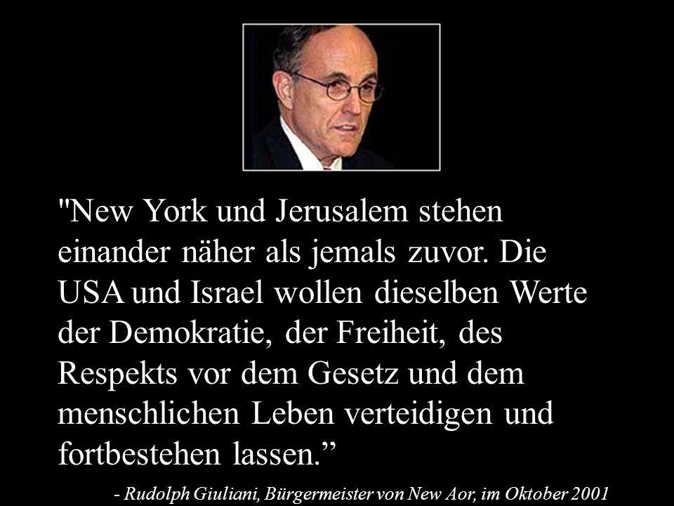 New York und Jerusalem stehen einander näher als jemals zuvor