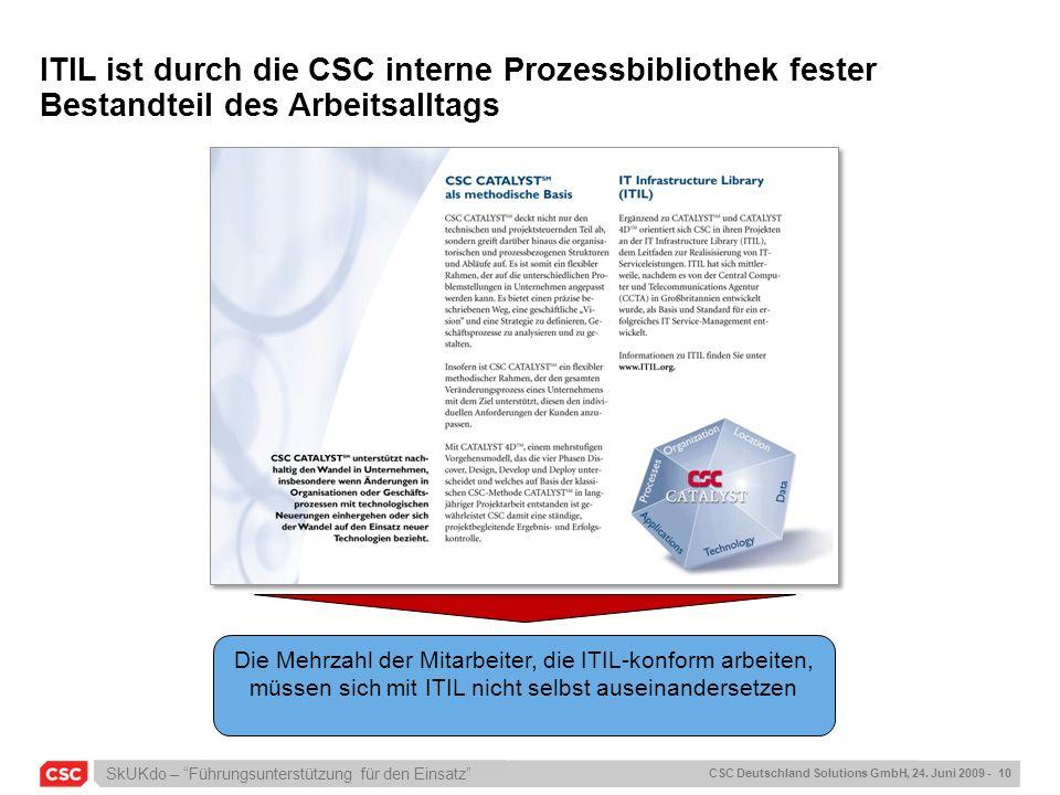 ITIL ist durch die CSC interne Prozessbibliothek fester Bestandteil des Arbeitsalltags