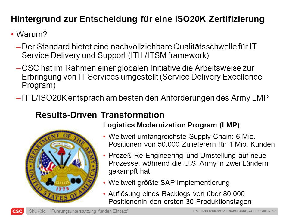Hintergrund zur Entscheidung für eine ISO20K Zertifizierung