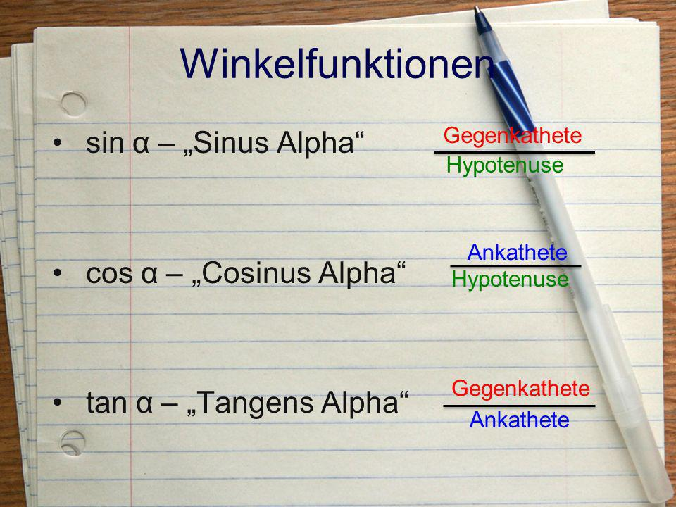 "Winkelfunktionen sin α – ""Sinus Alpha cos α – ""Cosinus Alpha"