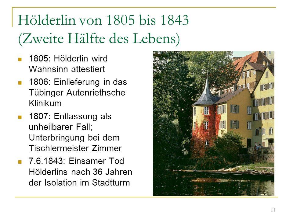Hölderlin von 1805 bis 1843 (Zweite Hälfte des Lebens)