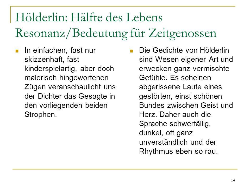 Hölderlin: Hälfte des Lebens Resonanz/Bedeutung für Zeitgenossen