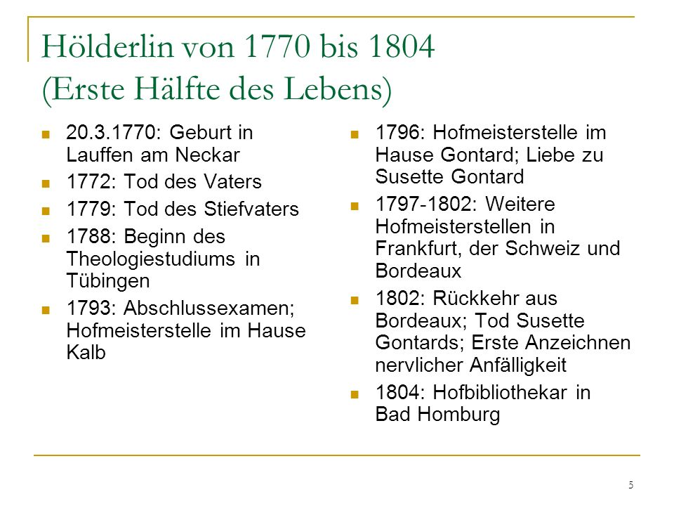 Hölderlin von 1770 bis 1804 (Erste Hälfte des Lebens)