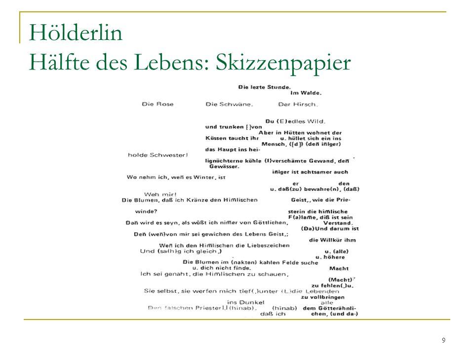 Hölderlin Hälfte des Lebens: Skizzenpapier