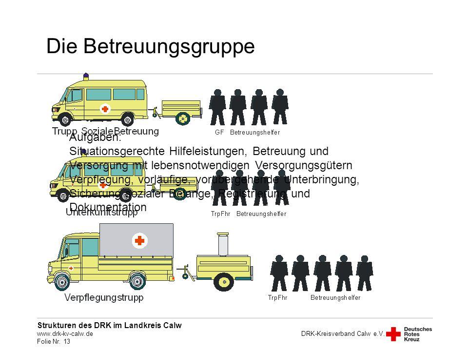 Die Betreuungsgruppe Aufgaben: