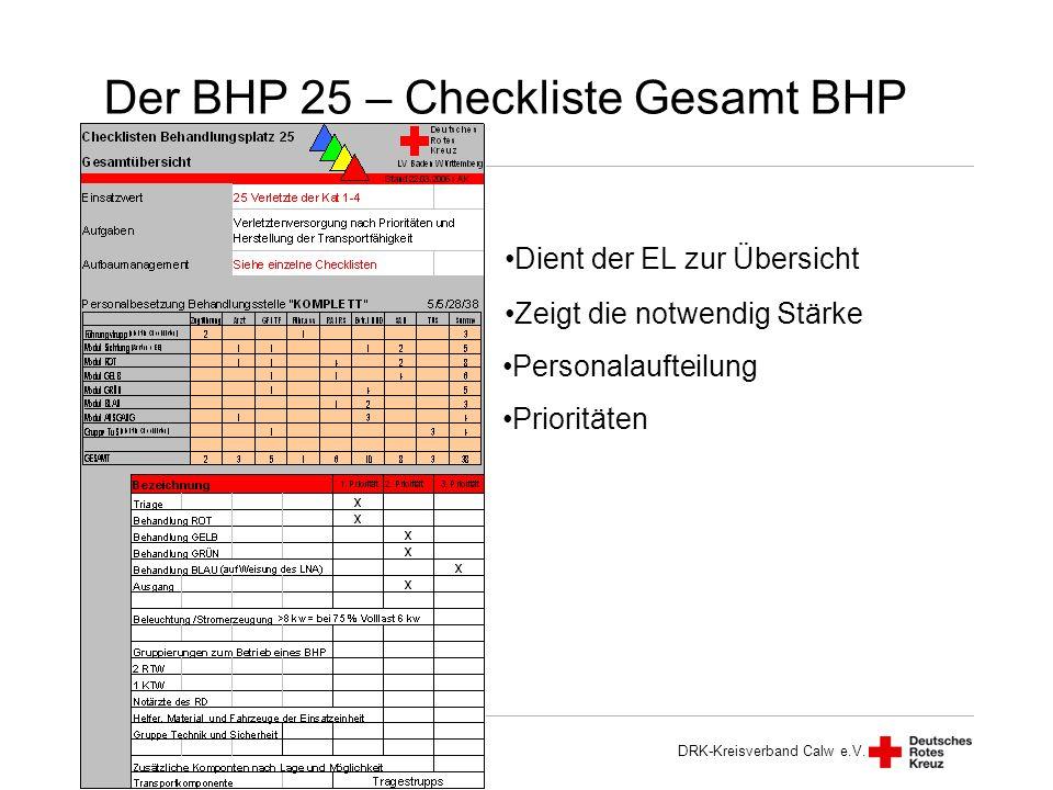 Der BHP 25 – Checkliste Gesamt BHP