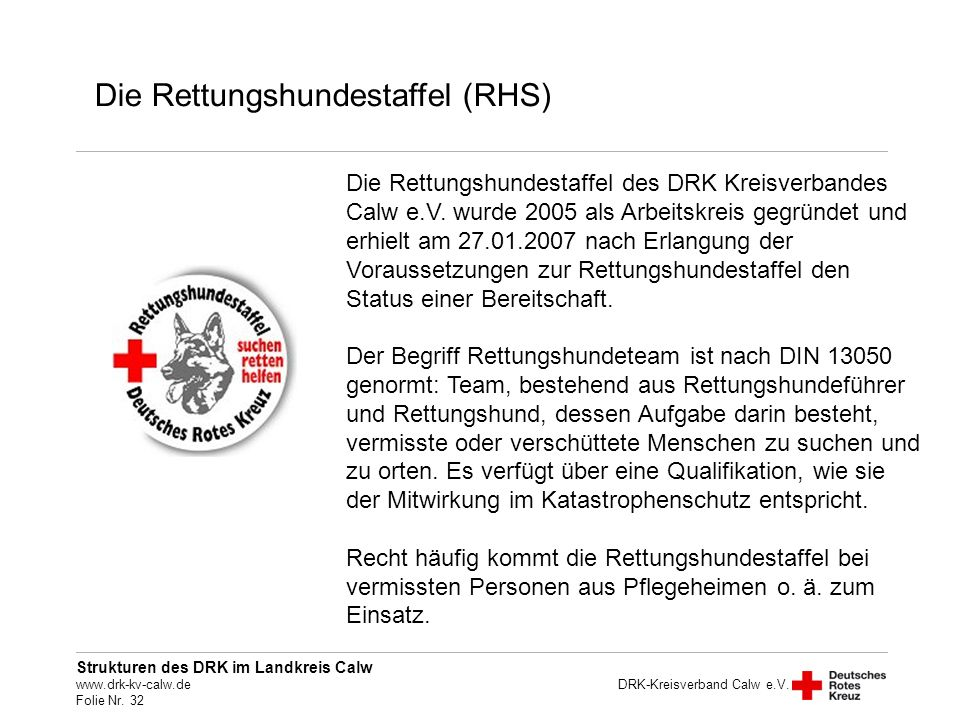 Die Rettungshundestaffel (RHS)