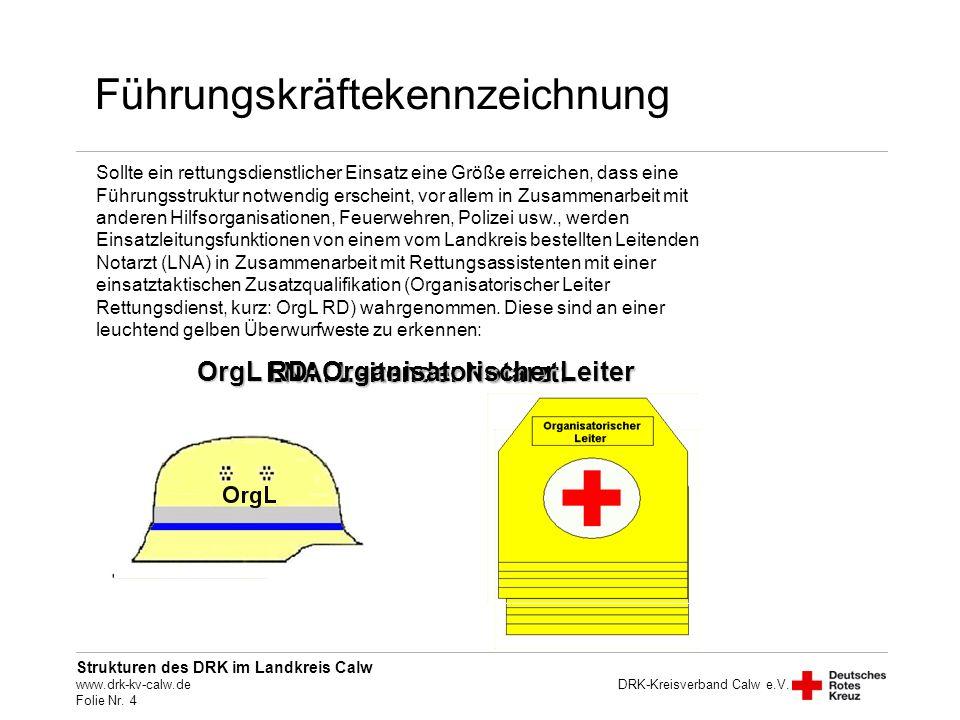 OrgL RD: Organisatorischer Leiter LNA: Leitender Notarzt: