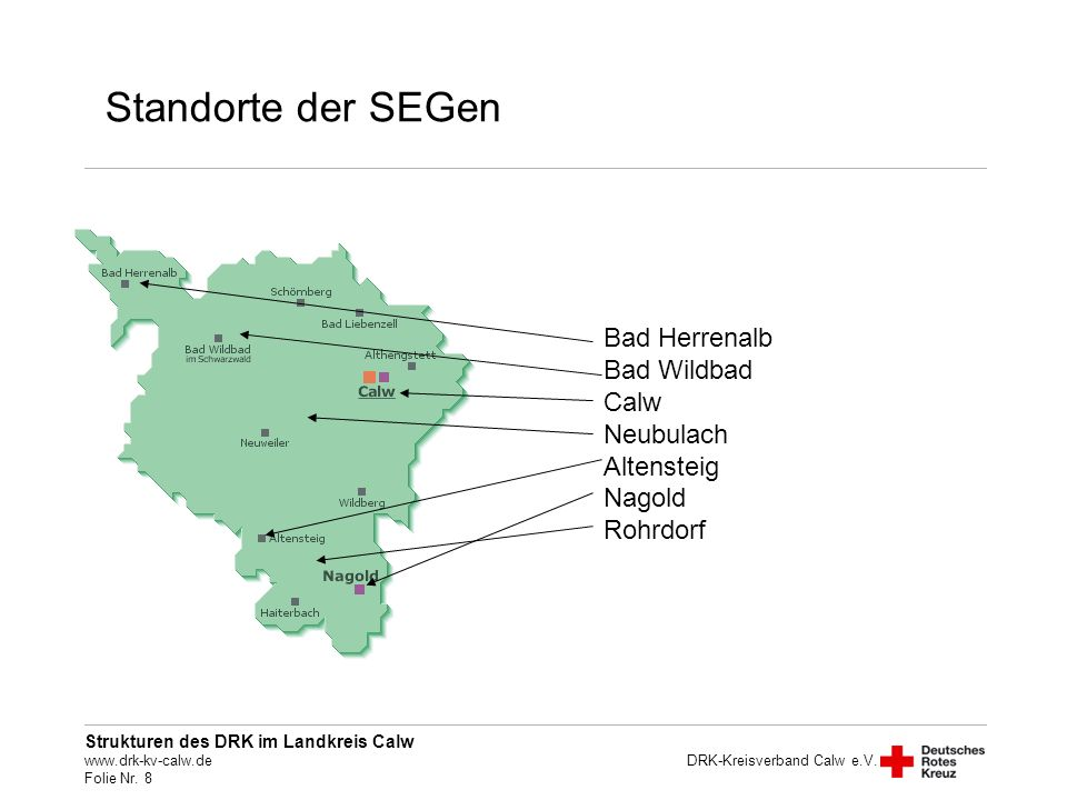 Standorte der SEGen Bad Herrenalb Bad Wildbad Calw Neubulach