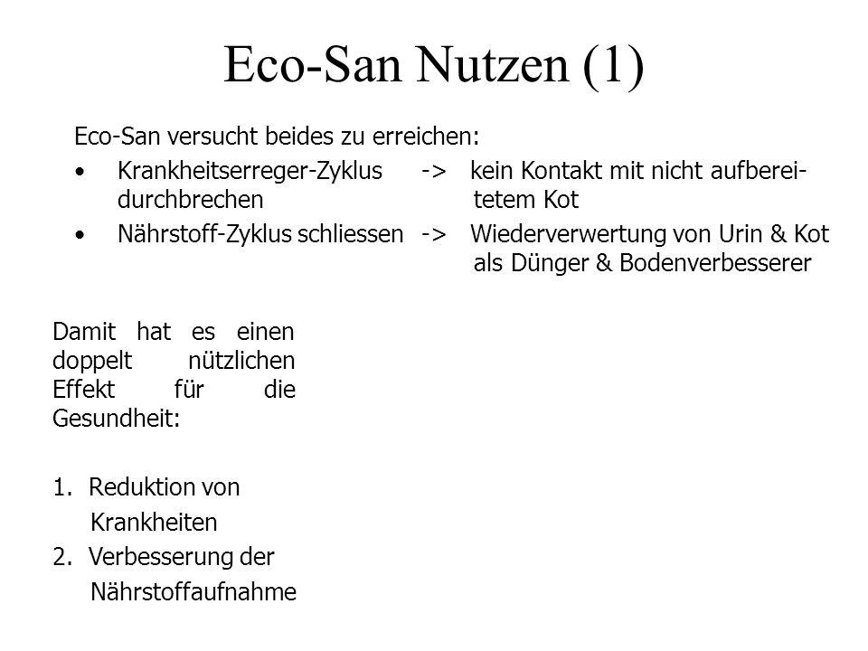 Eco-San Nutzen (1) Eco-San versucht beides zu erreichen: