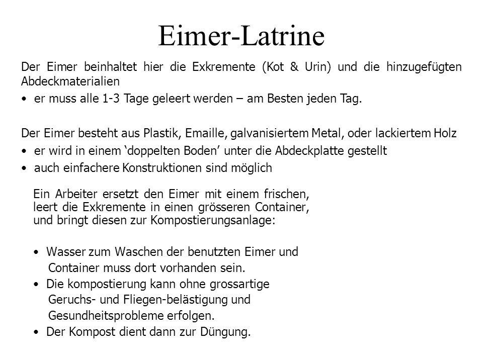 Eimer-Latrine Der Eimer beinhaltet hier die Exkremente (Kot & Urin) und die hinzugefügten Abdeckmaterialien.