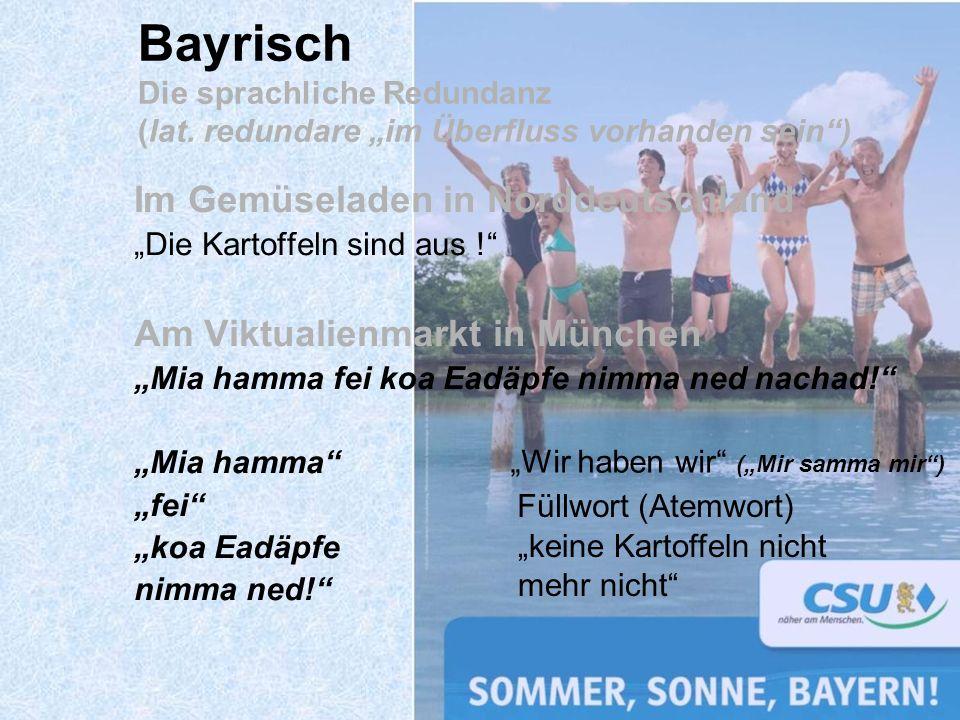 Bayrisch Die sprachliche Redundanz