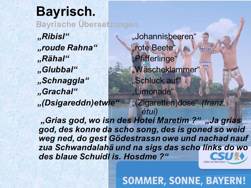 Bayrisch. Bayrische Übersetzungen.