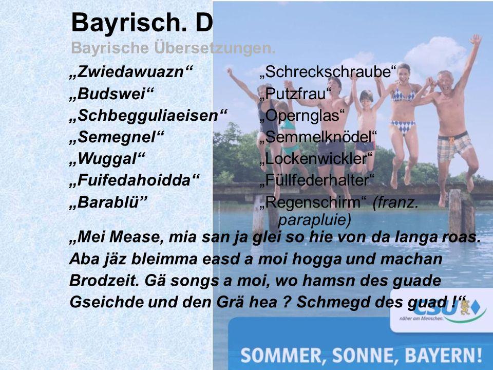 Bayrisch. D Bayrische Übersetzungen.