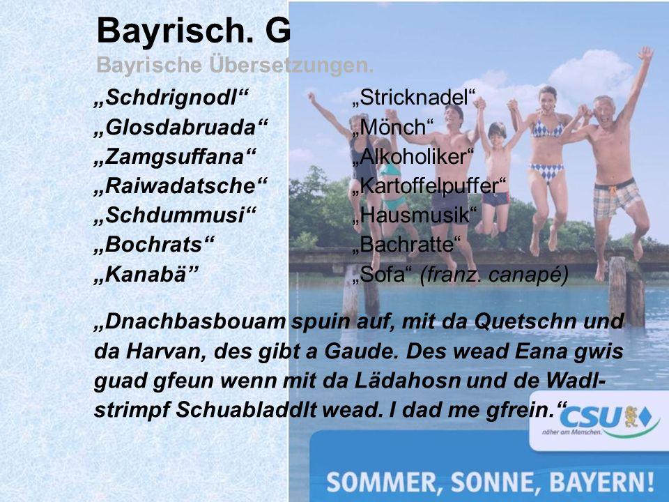 Bayrisch. G Bayrische Übersetzungen.