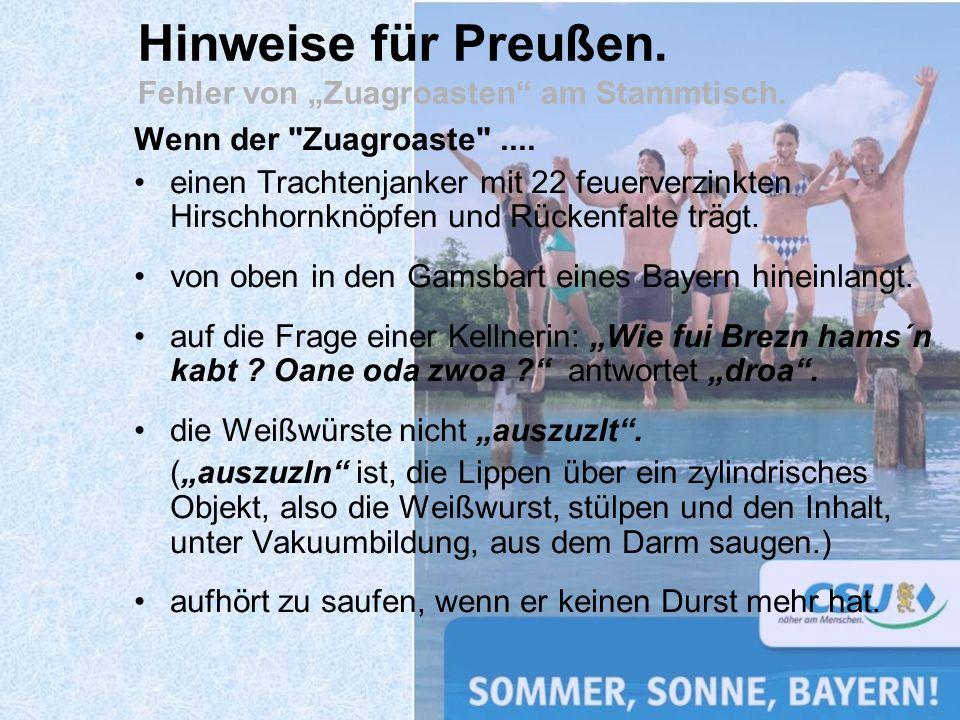 """Hinweise für Preußen. Fehler von """"Zuagroasten am Stammtisch."""