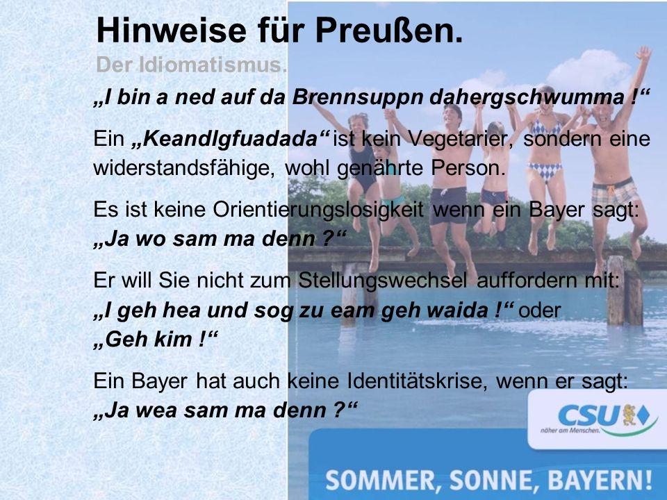 Hinweise für Preußen. Der Idiomatismus.