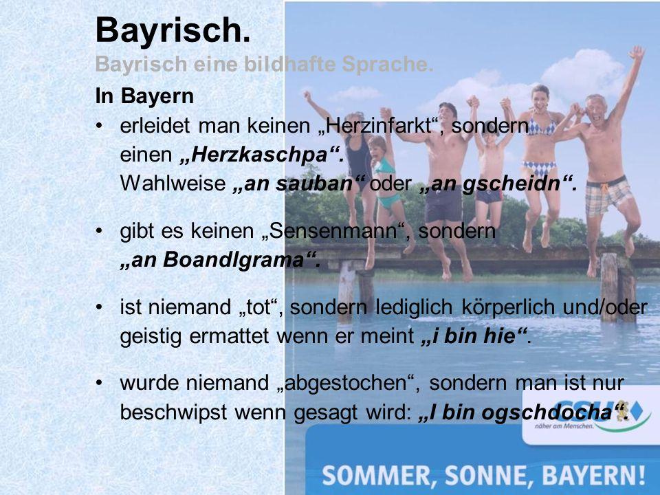 Bayrisch. Bayrisch eine bildhafte Sprache.