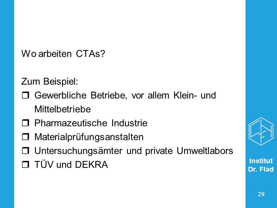 Wo arbeiten CTAs Zum Beispiel: Gewerbliche Betriebe, vor allem Klein- und. Mittelbetriebe. Pharmazeutische Industrie.