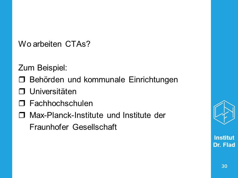 Wo arbeiten CTAs Zum Beispiel: Behörden und kommunale Einrichtungen. Universitäten. Fachhochschulen.