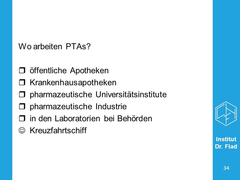 Wo arbeiten PTAs öffentliche Apotheken. Krankenhausapotheken. pharmazeutische Universitätsinstitute.