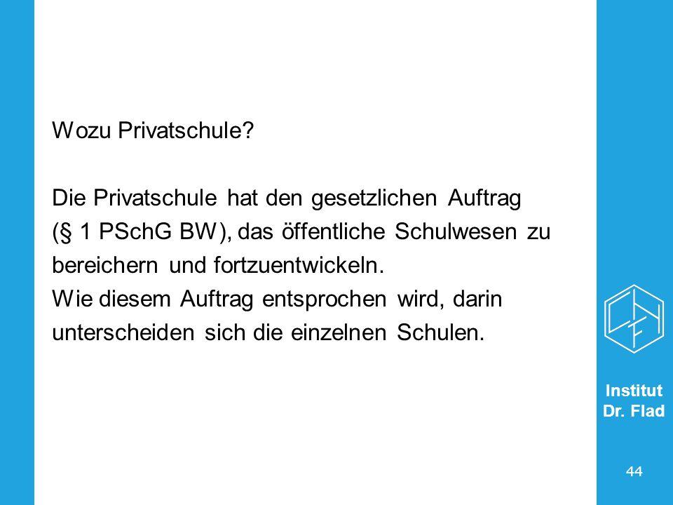 Wozu Privatschule Die Privatschule hat den gesetzlichen Auftrag. (§ 1 PSchG BW), das öffentliche Schulwesen zu.