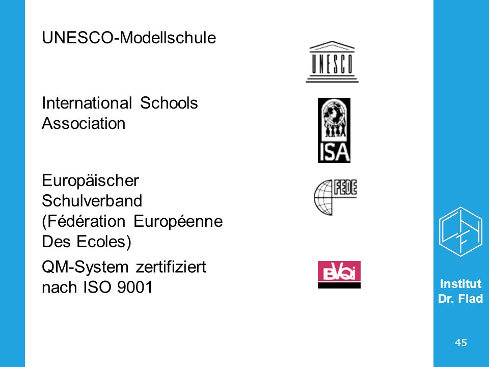 UNESCO-Modellschule International Schools Association. Europäischer Schulverband (Fédération Européenne Des Ecoles)