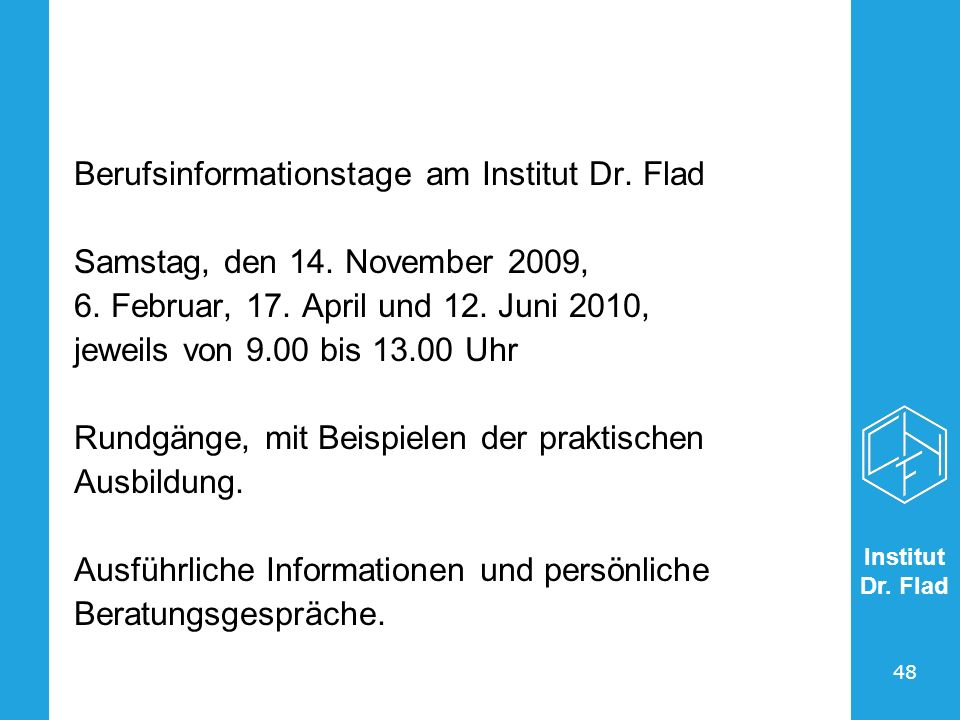Berufsinformationstage am Institut Dr. Flad