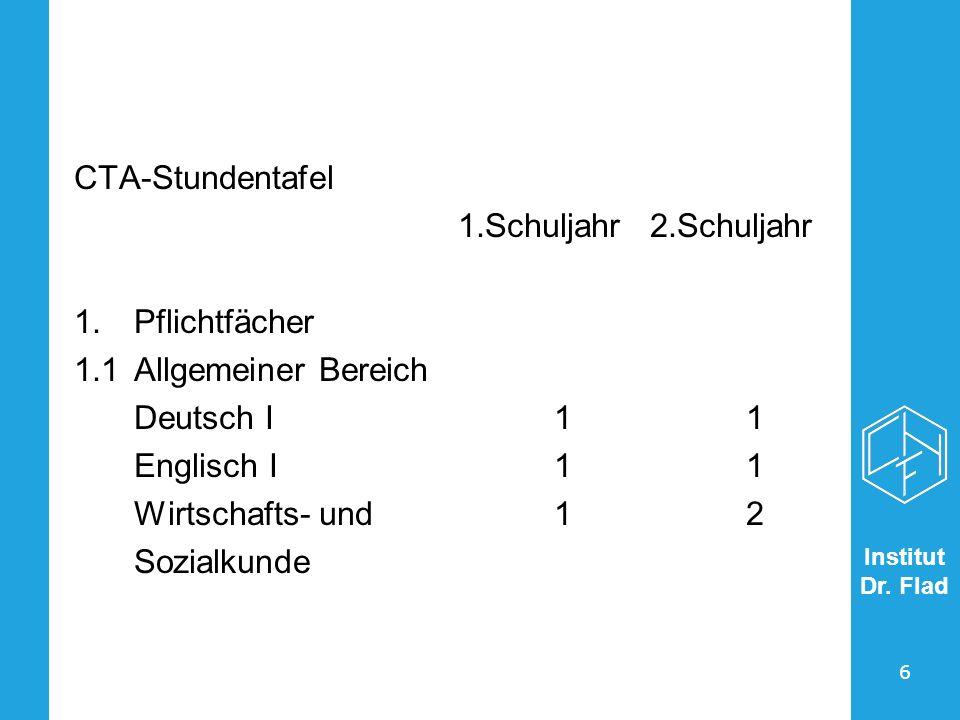 CTA-Stundentafel 1.Schuljahr 2.Schuljahr. Pflichtfächer. 1.1 Allgemeiner Bereich. Deutsch I 1 1.