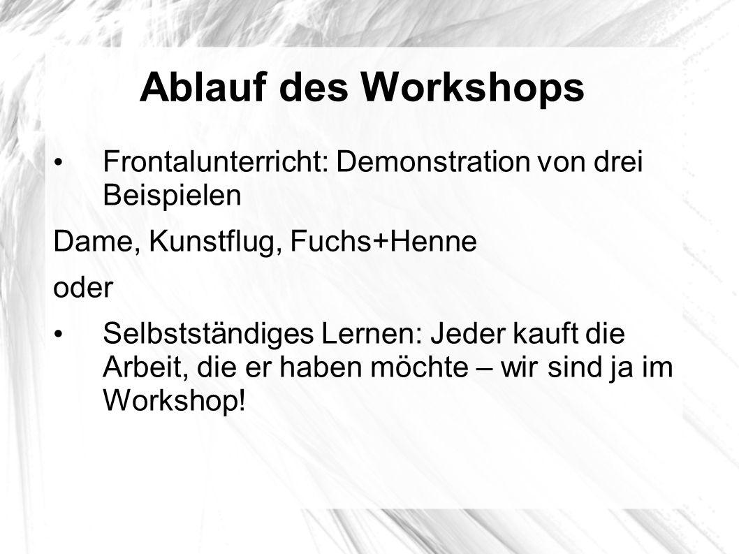 Ablauf des Workshops Frontalunterricht: Demonstration von drei Beispielen. Dame, Kunstflug, Fuchs+Henne.