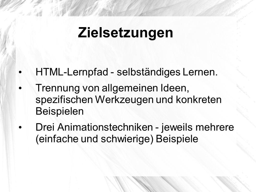 Zielsetzungen HTML-Lernpfad - selbständiges Lernen.