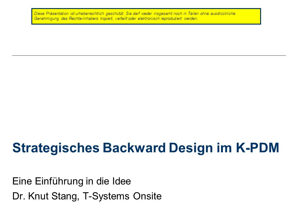 Strategisches Backward Design im K-PDM
