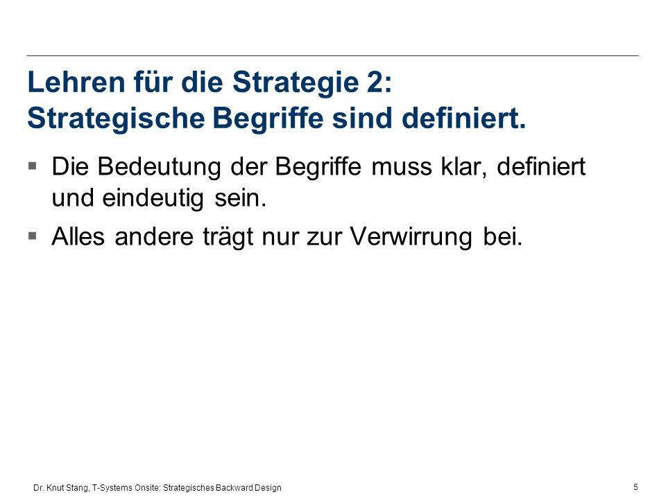 Lehren für die Strategie 2: Strategische Begriffe sind definiert.