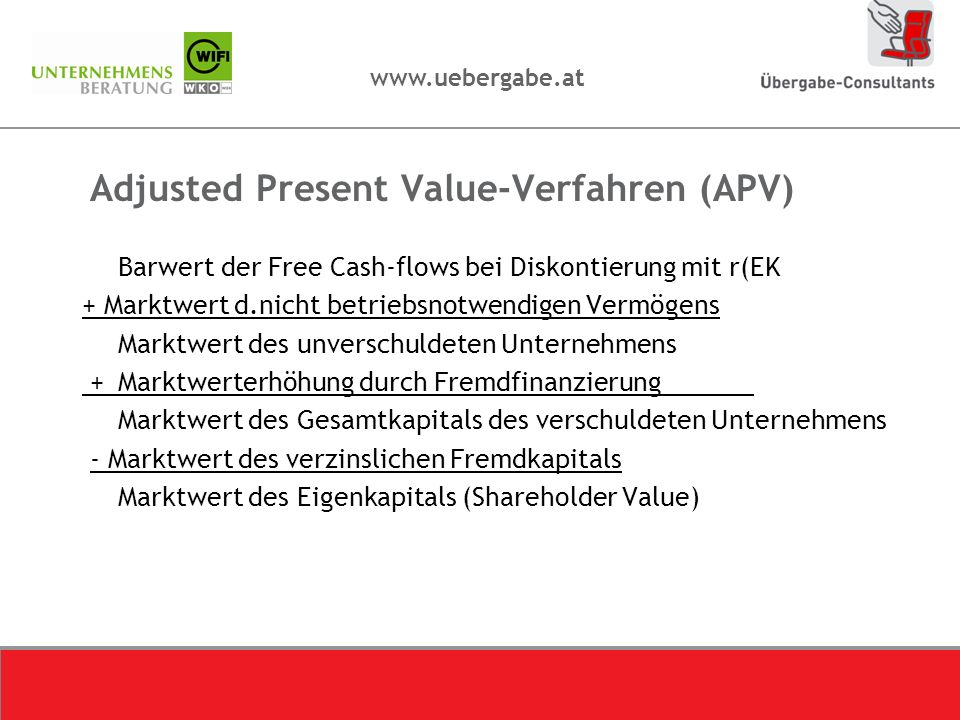 Adjusted Present Value-Verfahren (APV)