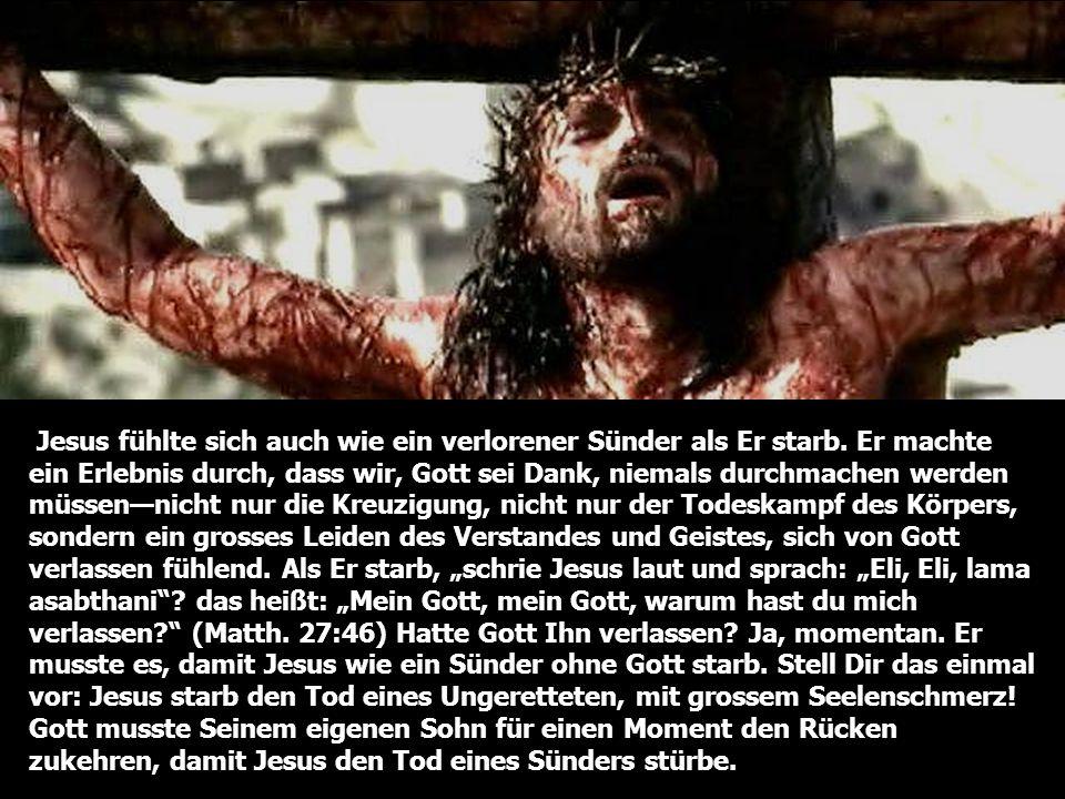 Jesus fühlte sich auch wie ein verlorener Sünder als Er starb