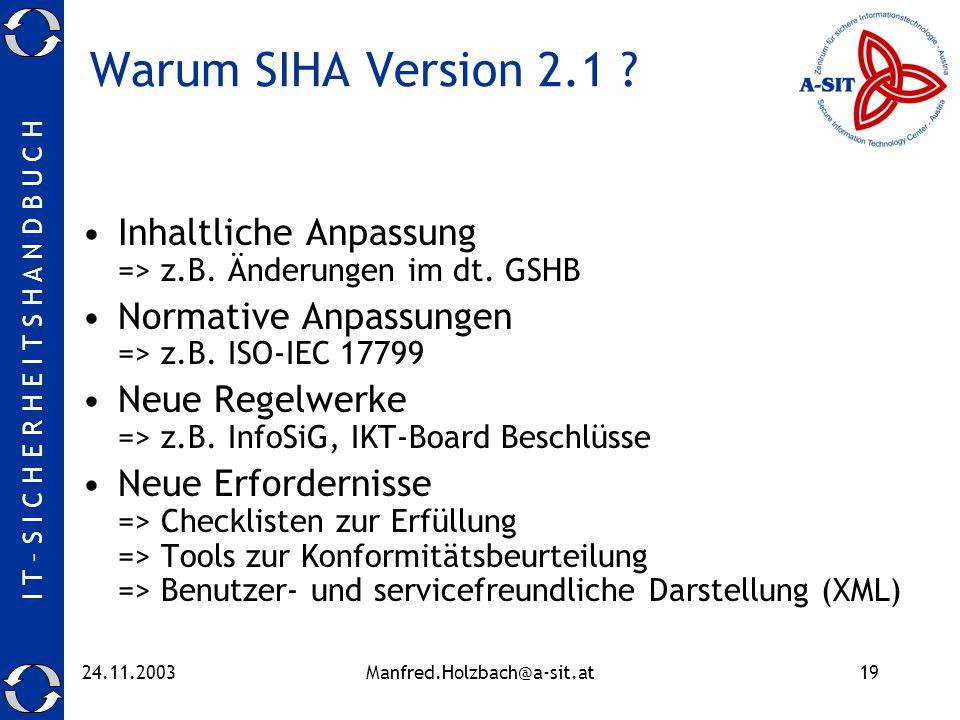 Warum SIHA Version 2.1 Inhaltliche Anpassung => z.B. Änderungen im dt. GSHB. Normative Anpassungen => z.B. ISO-IEC 17799.