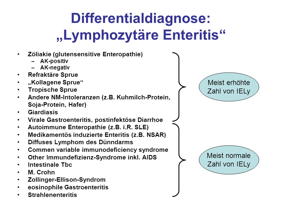 "Differentialdiagnose: ""Lymphozytäre Enteritis"