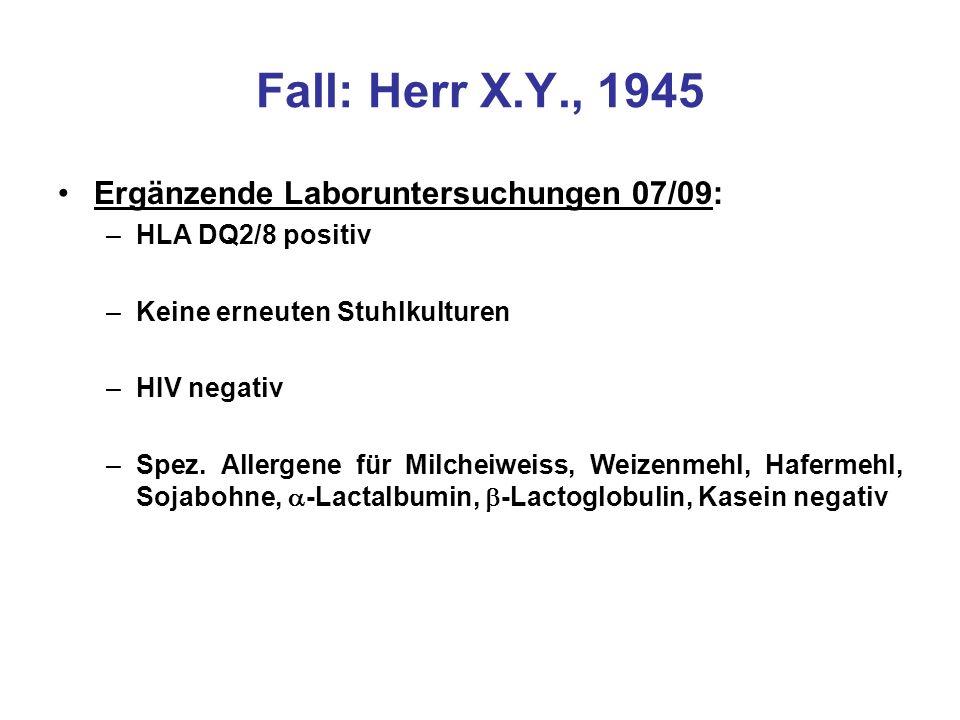 Fall: Herr X.Y., 1945 Ergänzende Laboruntersuchungen 07/09: