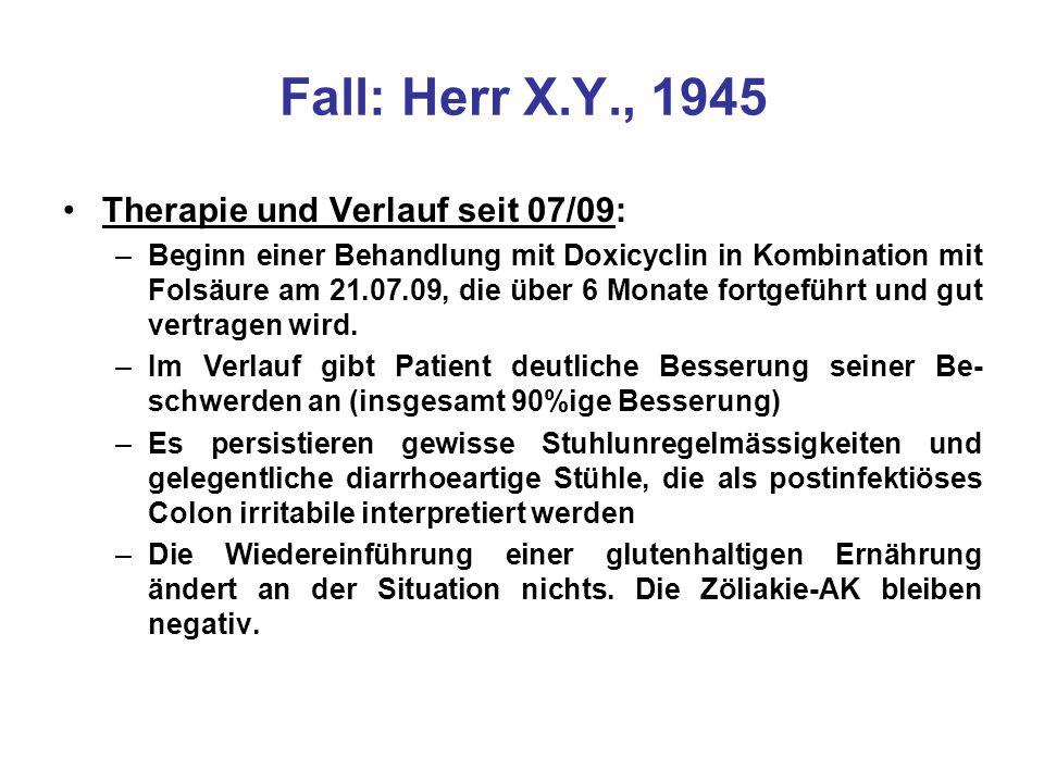 Fall: Herr X.Y., 1945 Therapie und Verlauf seit 07/09: