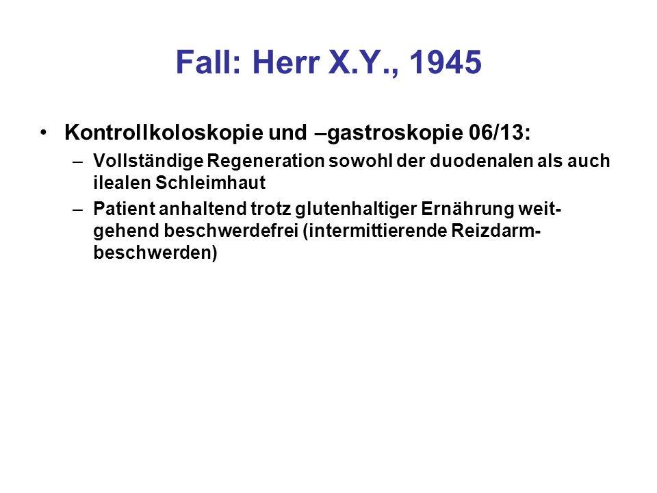 Fall: Herr X.Y., 1945 Kontrollkoloskopie und –gastroskopie 06/13:
