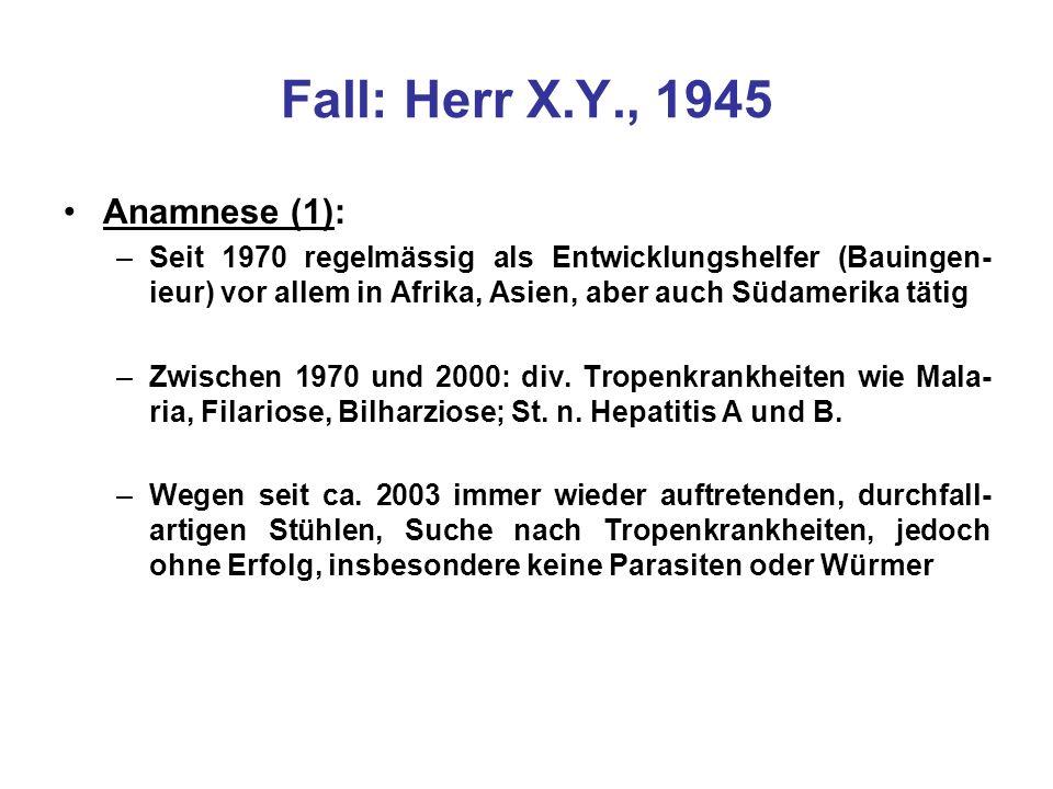 Fall: Herr X.Y., 1945 Anamnese (1):