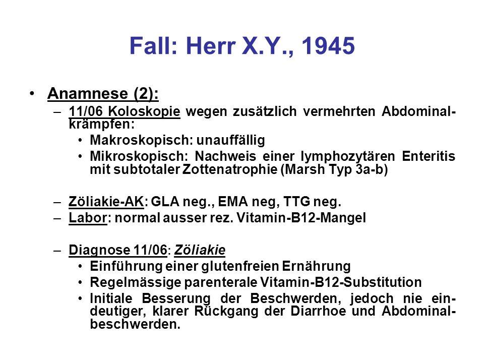 Fall: Herr X.Y., 1945 Anamnese (2):