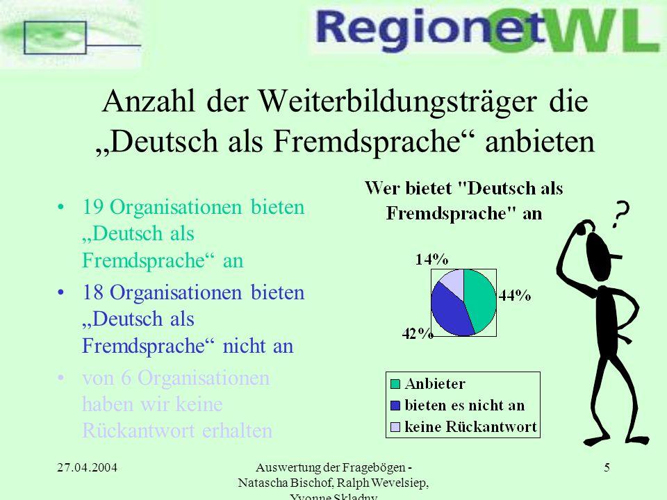 """Anzahl der Weiterbildungsträger die """"Deutsch als Fremdsprache anbieten"""